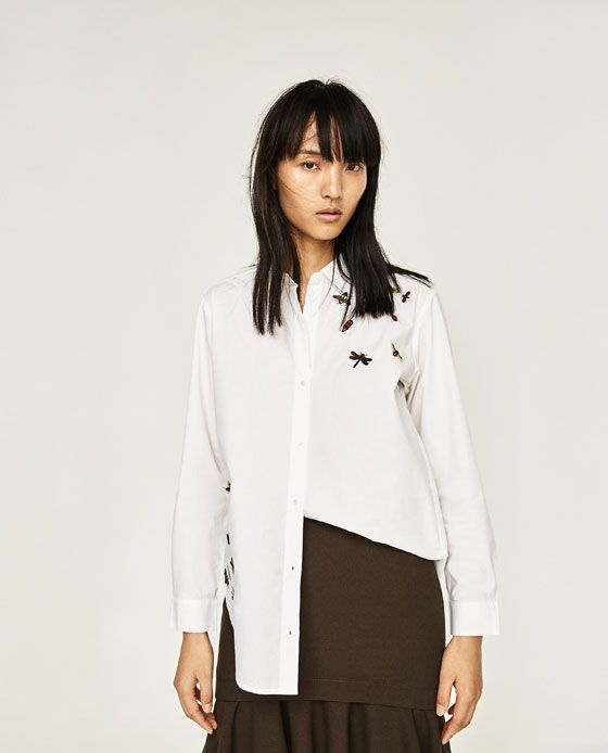 ZARA - WOMAN - OVERSIZED EMBROIDERED SHIRT