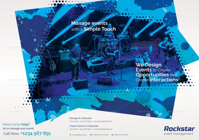 event management tri fold brochure template brochure design