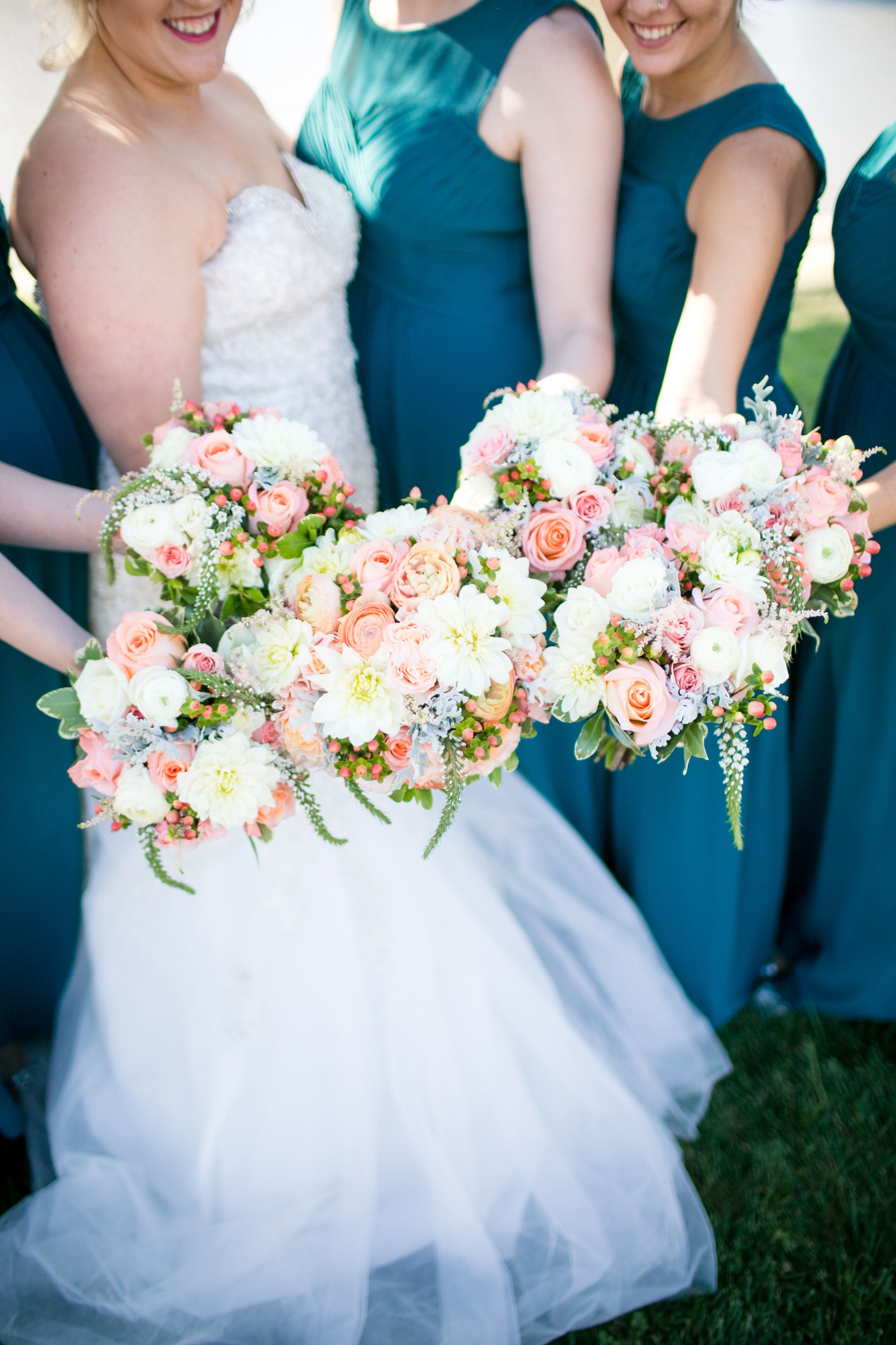 Coral and Ivory Wedding Bouquets. Quincy, IL Wedding.   Ivory ...