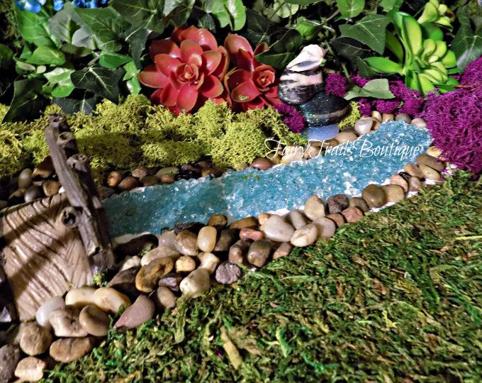 Bubbling River Or River With Pond Miniature Garden Fairy Garden Faerie Garden Fairy River Gnome Fairy Garden Diy Fairy Garden Miniature Fairy Gardens