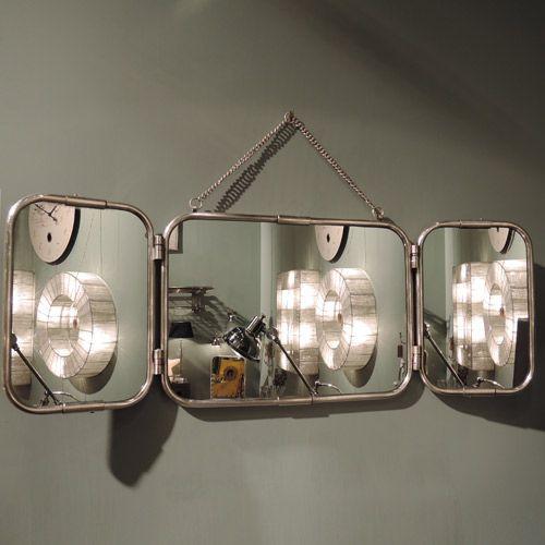 Miroir tryptique de barbier en métal avec patine nickel Chehoma ...