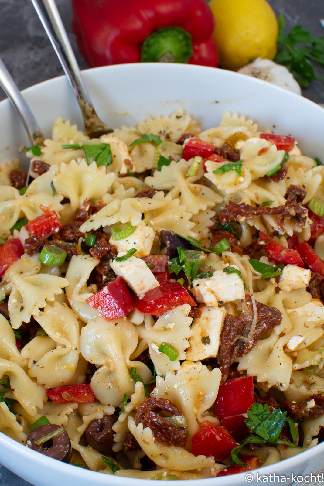 Photo of Mediterranean pasta salad with olives, sun-dried tomatoes and peppers – Katha-cooks!