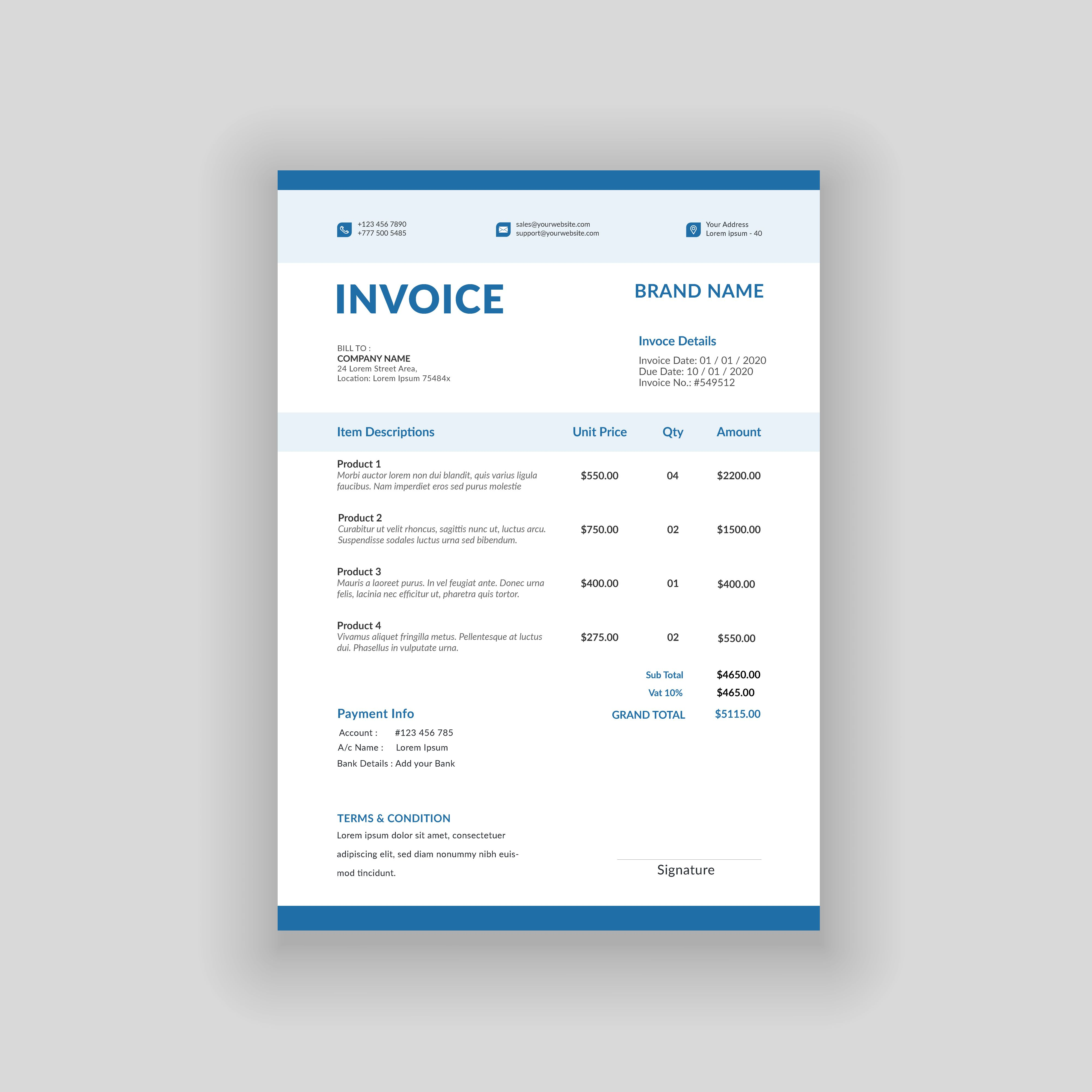 Professional Business Invoice Template Vector Format Voucher Bill Receipt Quotation Sale In 2021 Invoice Template Website Banner Templates