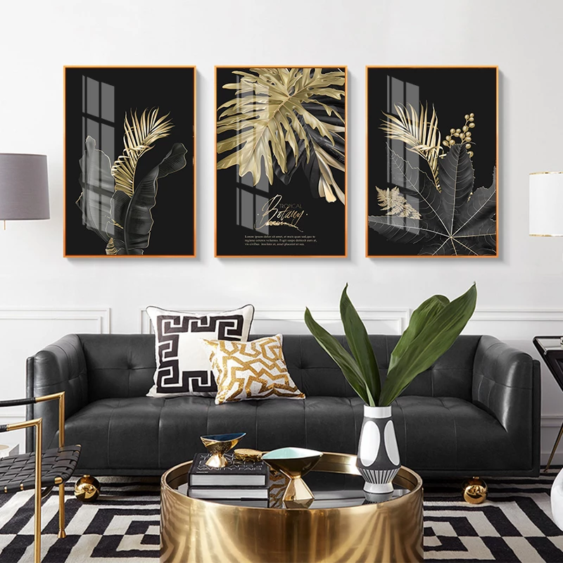 Golden Tropical Botany Luxury Nordic Wall Art Black Gold Palm Leaves Fine Art Canvas Prints Pictures For Office Living Room Bedroom Modern Home Decor Art Deco Living Room Gold Living