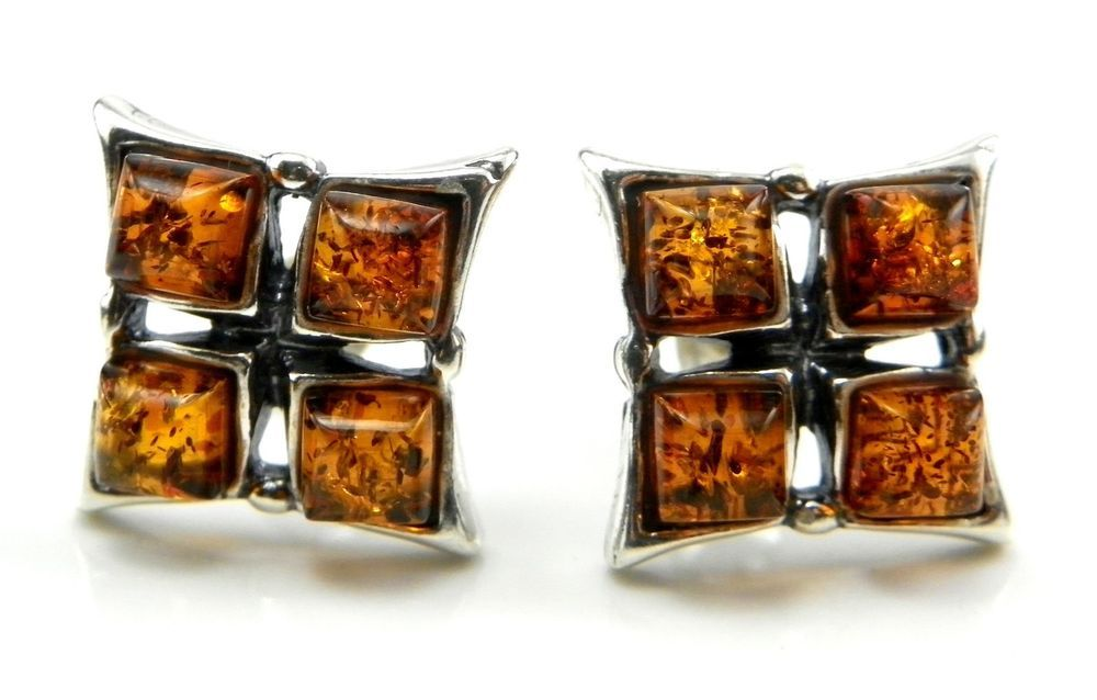 Sterling silver EARRINGS with genuine cognac BALTIC AMBER stones