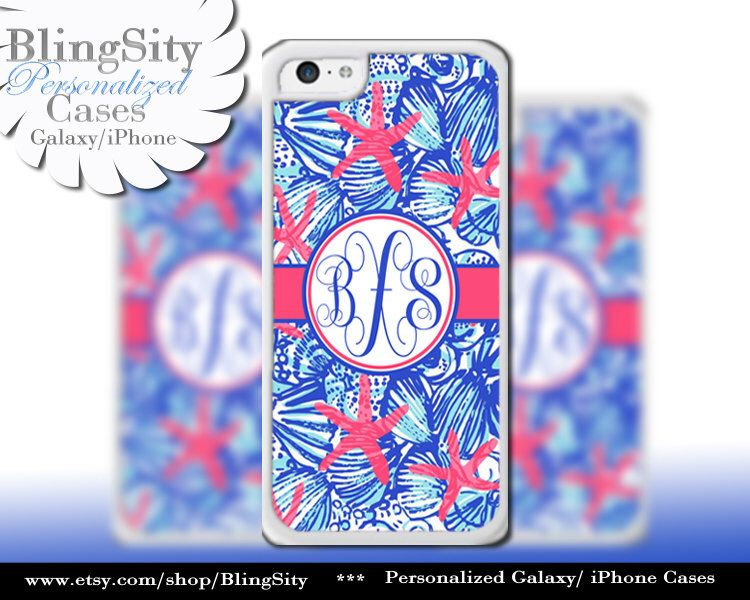 Monogram Starfish Pastels iPhone 5C 6 Case 6 Plus iPhone 5s 4 case Ipod 4 5 Touch Cover Aqua Blue Shells Red Coral Personalized by BlingSity on Etsy https://www.etsy.com/listing/209071100/monogram-starfish-pastels-iphone-5c-6