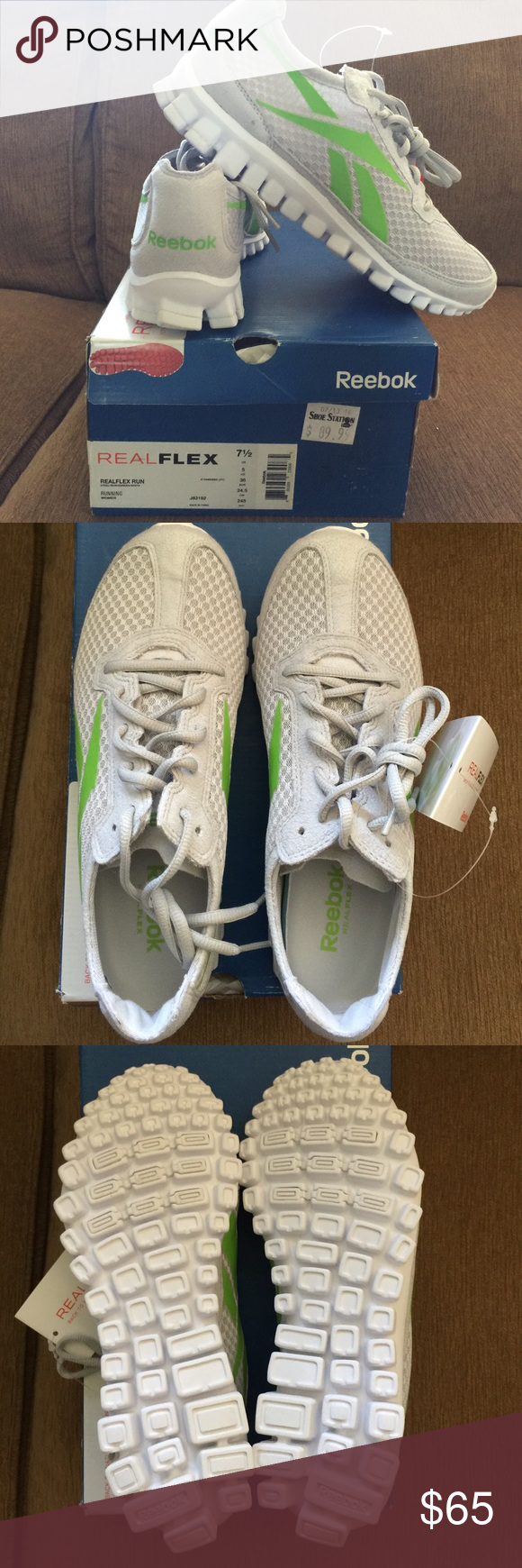 NEW Reebok RealFlex original running sneakers ✨ New with tags ✨ Never worn!!  ✨Light grey suede   mesh Reebok RealFlex running sneakers with green logo . 27f9e1d56