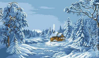 """Схема для вышивания бисером """"Синяя зима"""" (Цыганова) - схема вышивки бисером"""