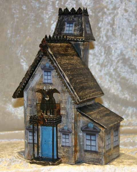 A haunted house for my halloween atcs paper crafts for How to make a cardboard haunted house