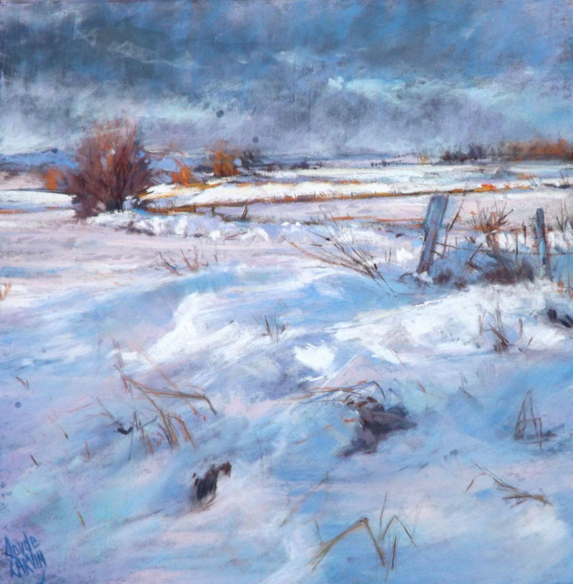 En Robe D Hiver Jpg Peinture 30×30 Cm Par Claude Carvin Pastel