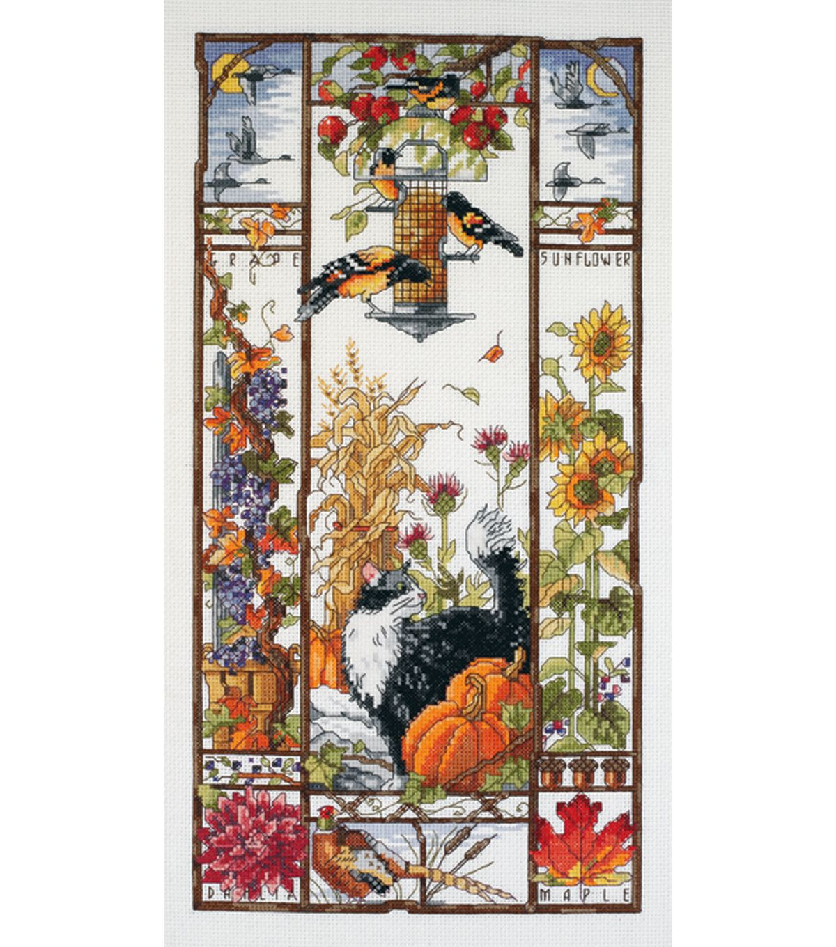 Janlynn Autumn Cat Counted Cross Stitch Kit at