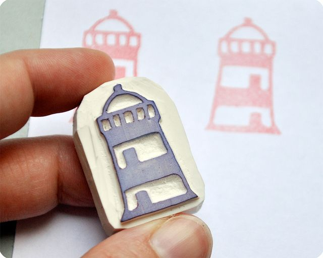 Lighthouse hand carved rubber stamp #rubberstamping