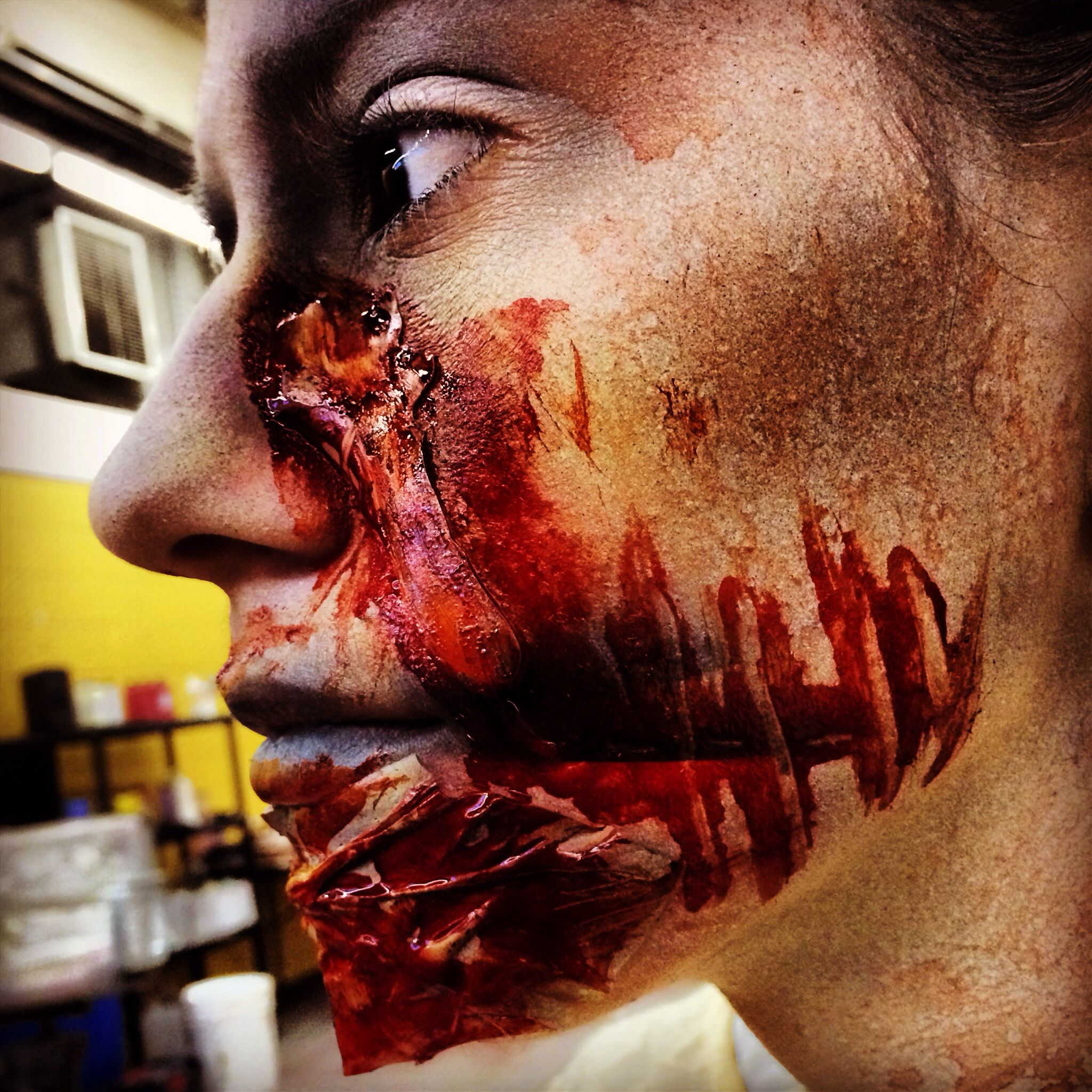 Cheek nose prosthetic #frightfest #sfxmakeup #undead #airbrushing ...