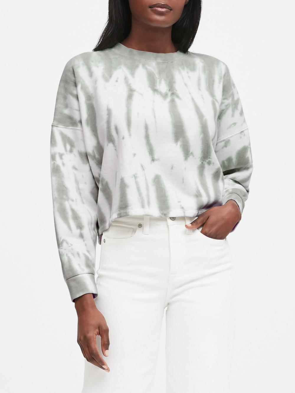 Cropped Tie Dye Sweatshirt Banana Republic Dolman Sleeve Sweatshirt Sweatshirts Tie Dye Sweatshirt [ 1333 x 1000 Pixel ]
