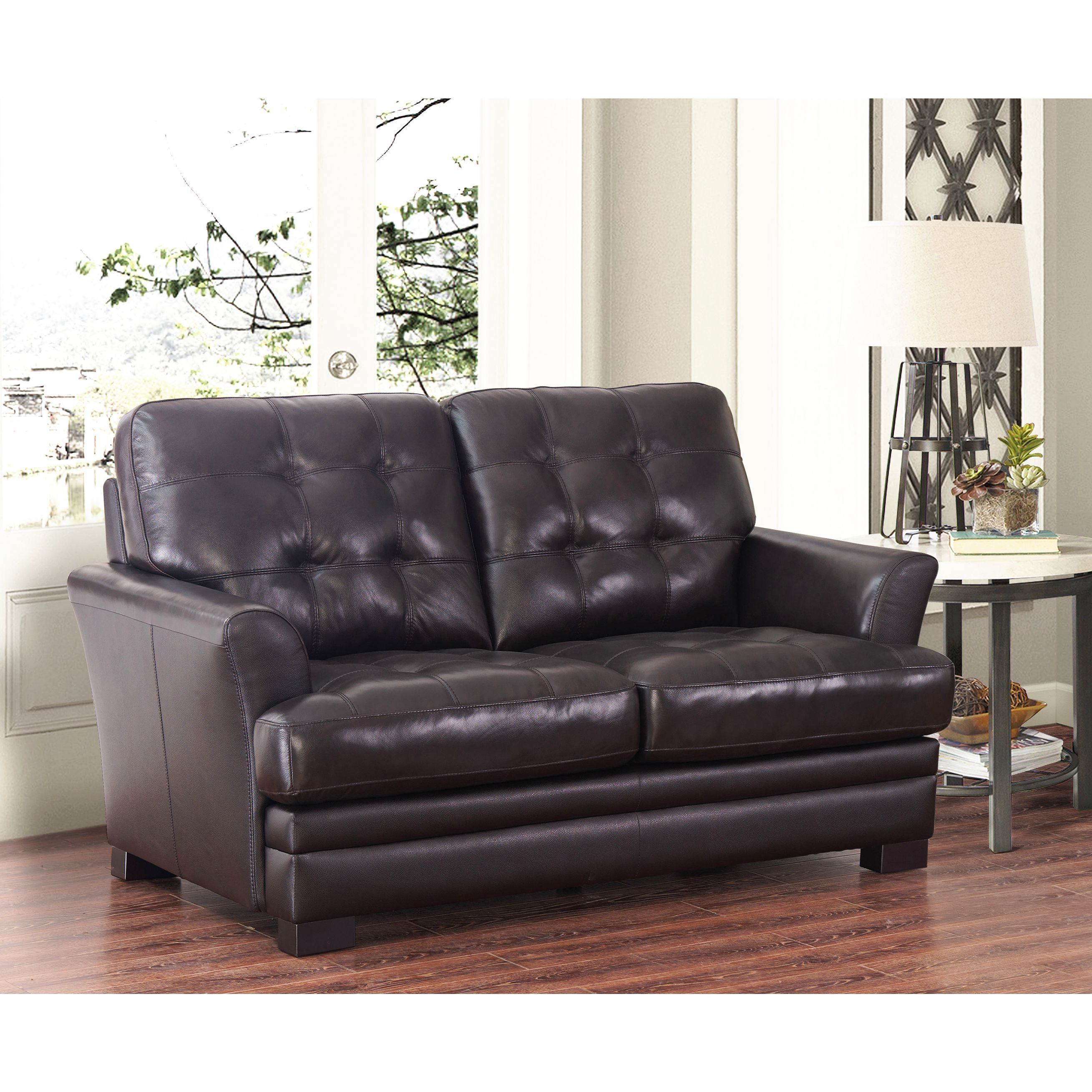 Divani Outlet Online Abbyson Divani Espresso Top Grain Leather Loveseat Products