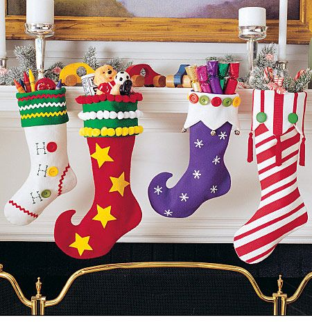 Christmas Stocking Patterns Felt Applique Gifts Crafts McCalls 2991 ...