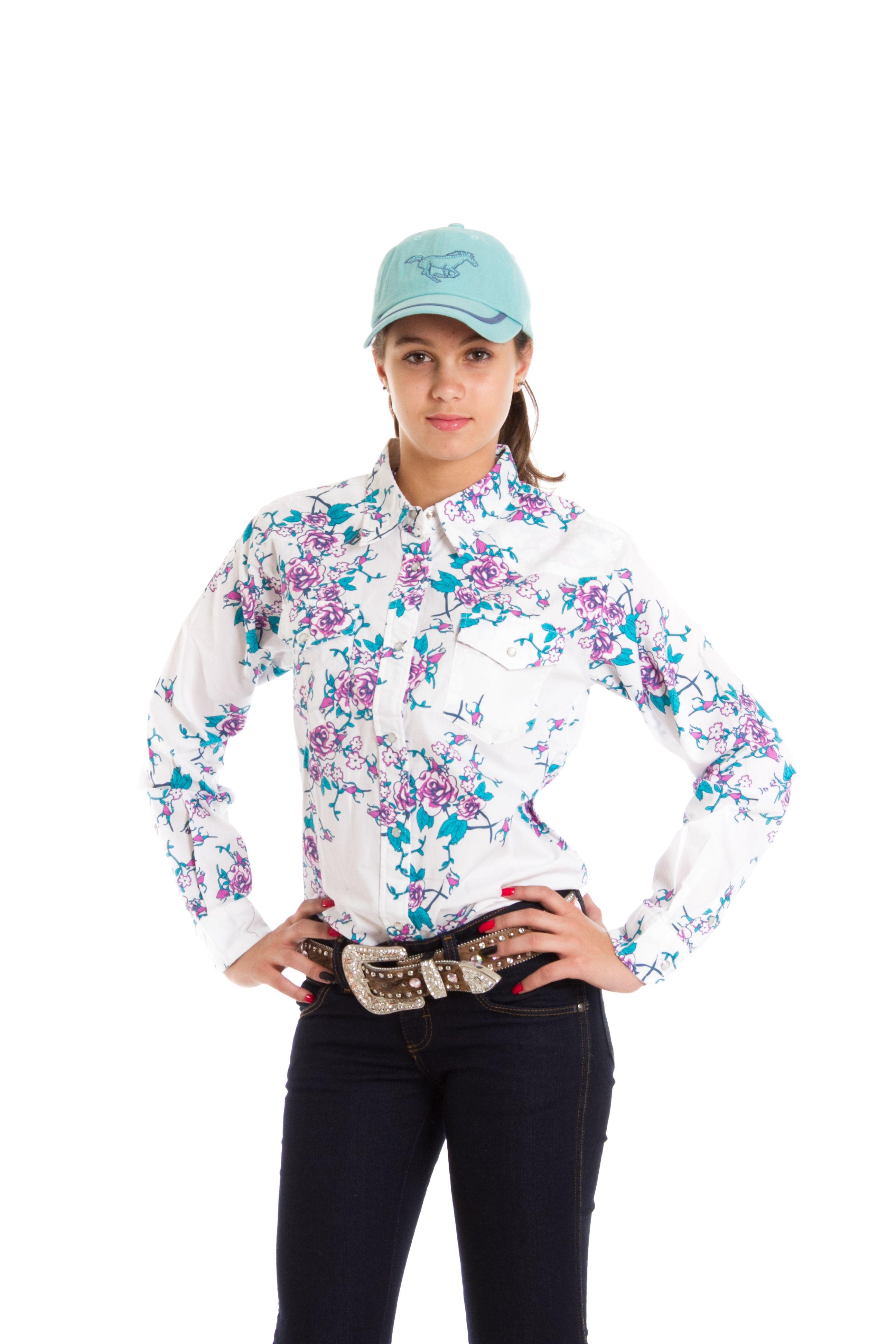 7c2e8386d1 Camisa Floral Juvenil Manga Longa camisa manga longa feminina juvenil na  cor branca com estampa de