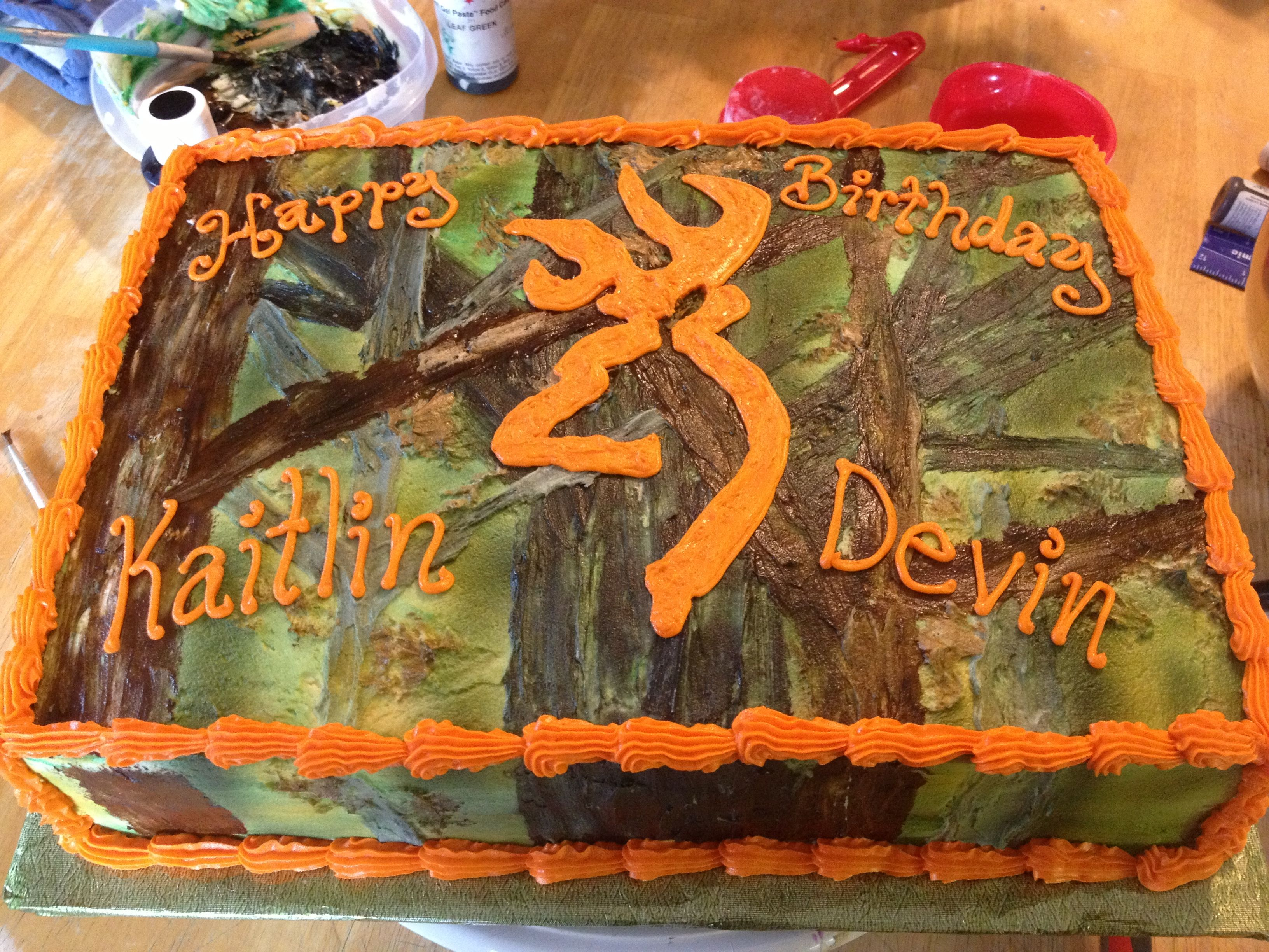 Fantastic Camo Birthday Cake For Two People Camo Birthday Cakes Hunting Funny Birthday Cards Online Overcheapnameinfo