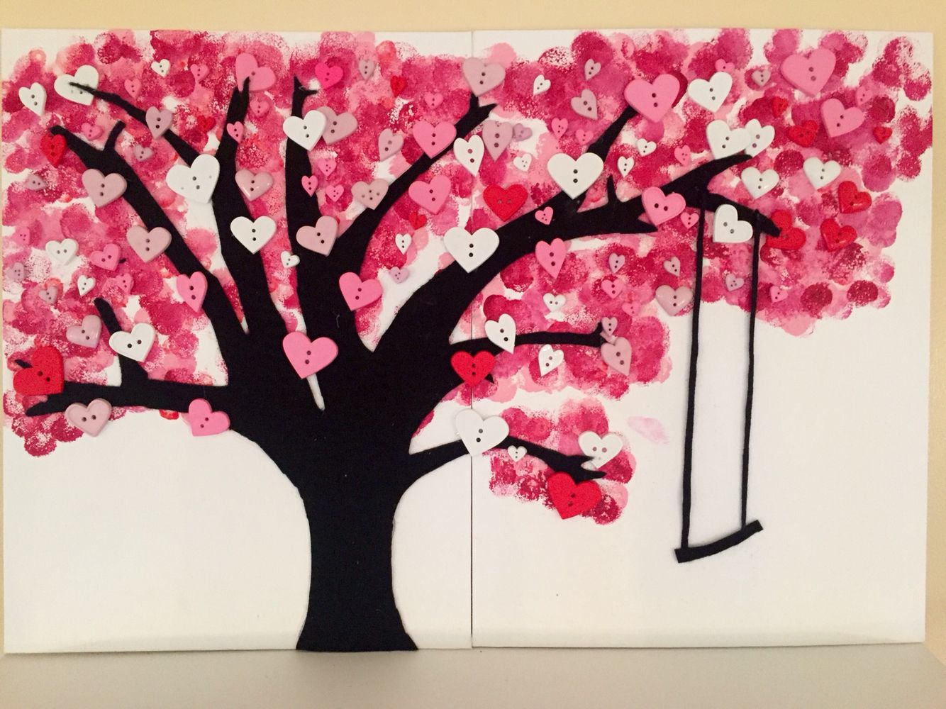 Heart tree on canvas for Valentines Day