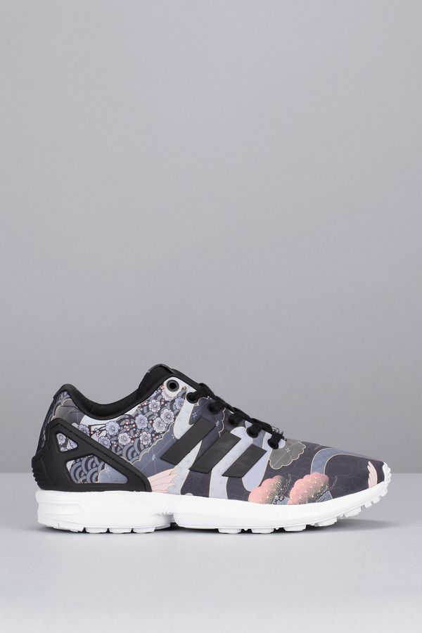separation shoes b16a1 23dd9 Adidas Originals Sneakers noires imprimées héron Zx Flux W