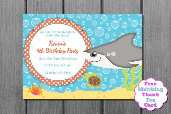Free Birthday Stationary ~ Blue and orange shark boy birthday invitation and free thank you