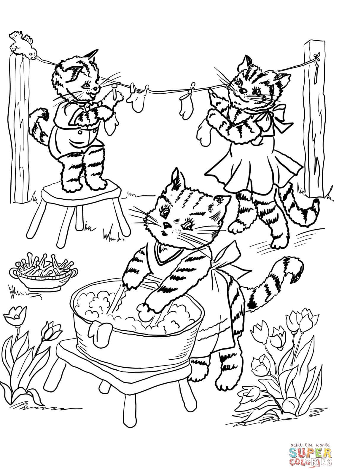 Three Little Kittens Coloring Page Free Printable Coloring Pages