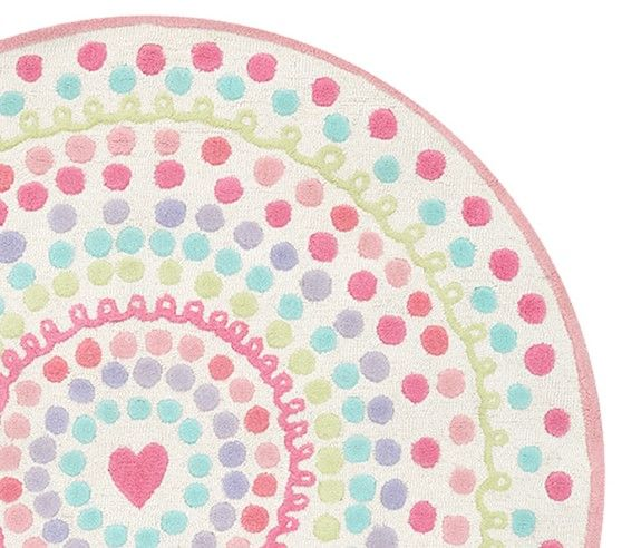 Heart Dot Round Rug Baby Room Rugs Round Rugs Playroom Rug