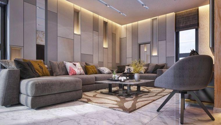 Esempi arredamento soggiorno con divano grigio in tessuto e ...