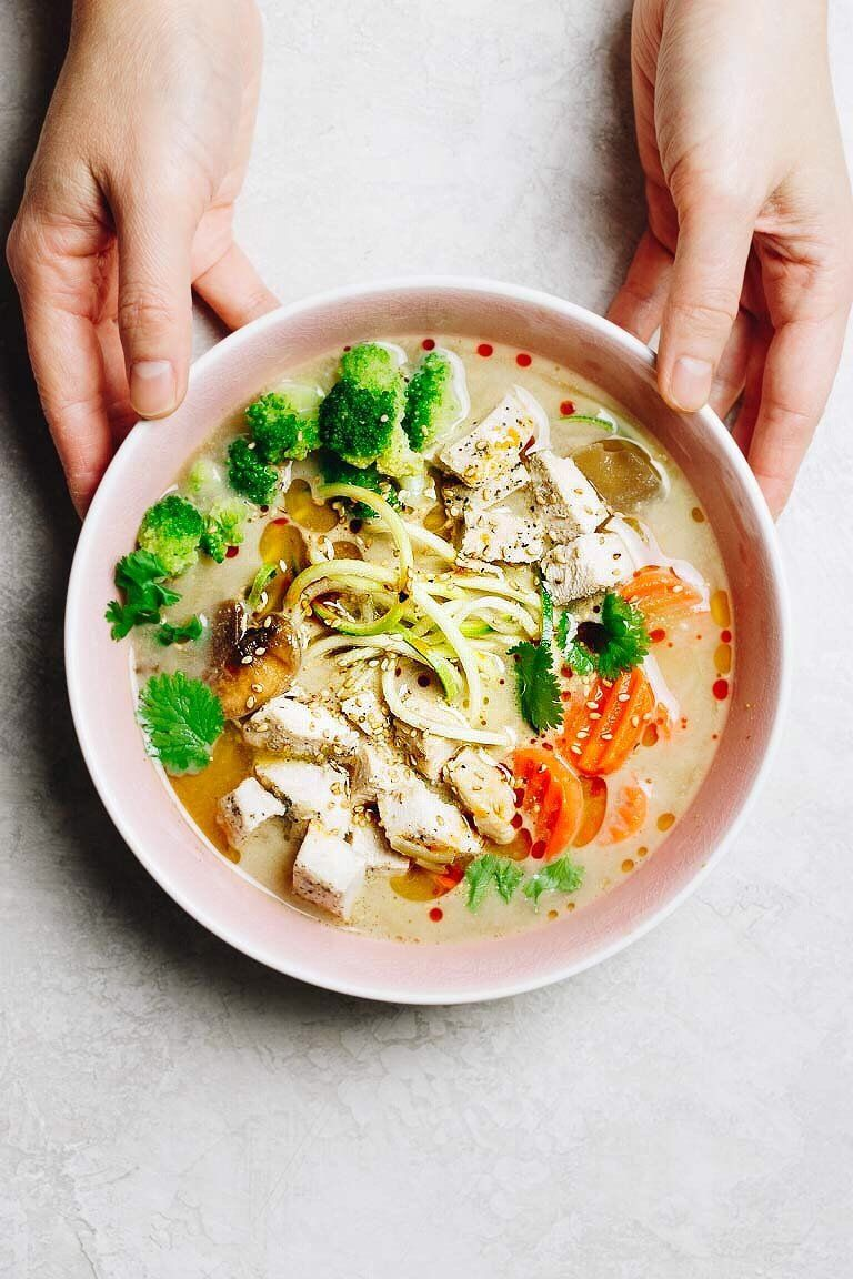 Whole30 Cup Noodles are healthy gluten-free and easy no cook. 3 flavors - Umami chicken 'miso', Spicy kimchi, and creamy Thai coconut curry. Just add hot water and enjoy the most healthy instant Chicken Cup Noodles! #CupNoodles #CupNoodlesRecipes #GlutenFreeCupNoodles #HealthyCupNoodles #HomemadeCupNoodles #Whole30CupNoodles #EasyWhole30Recipes #InstantCupNoodles #LowCarbCupNoodles #IHeartUmami #KetoCupNoodles #InstantNoodleCups