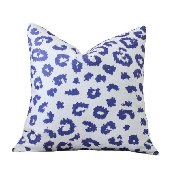 Cobalt Blue Throw Pillow Covers : 25.00 18 or 20 Blue Modern Pillow Cover Cobalt Blue Leopard Pillow... (35 CAD) liked on Polyvore ...