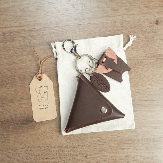 Fuchsia Flower Pattern Real Leather Handmade Triangle Coin Purse UK Handmade
