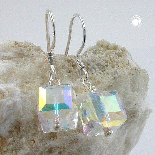 Ohrhaken, 8x8mm kristall-AB, Silber 925  Glas kristall-AB, 2 quadratische Glasperlen 8mm