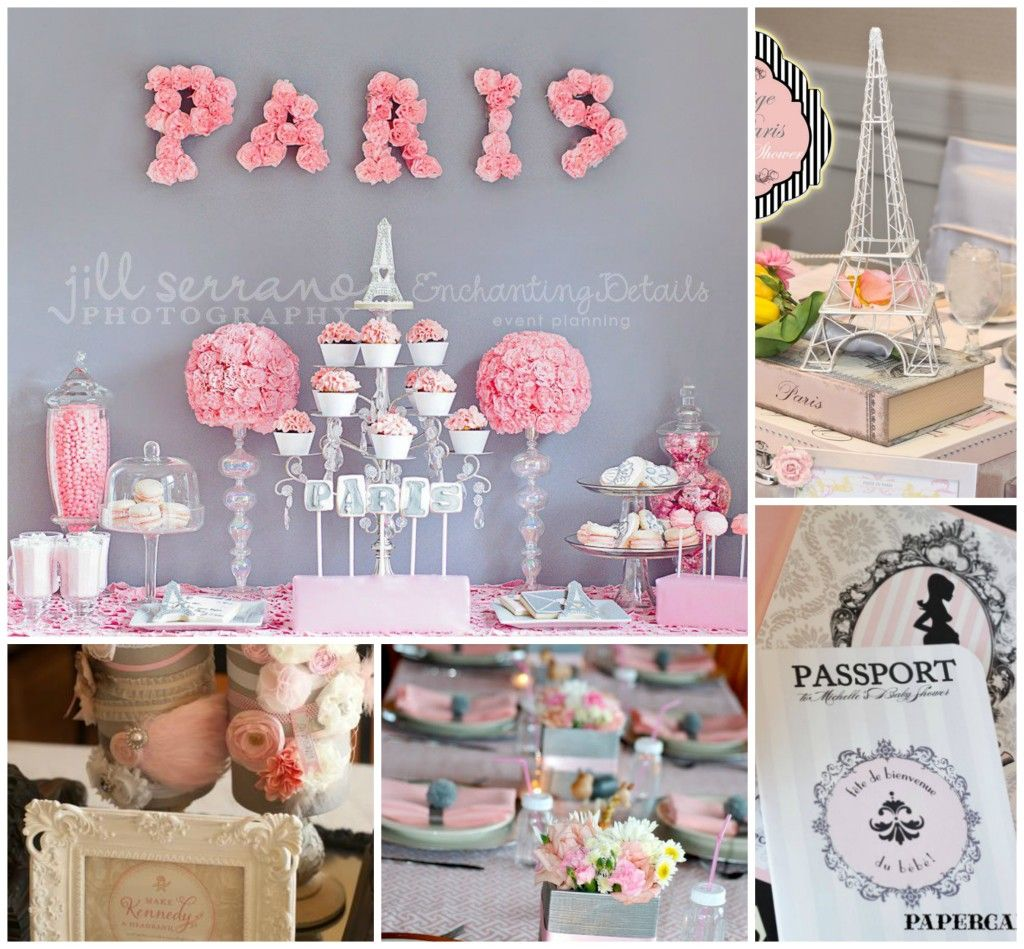 Homemade baby shower table decoration ideas - Baby Shower Decoration Ideas Parisian Baby Shower Collage Pink And Gray 1