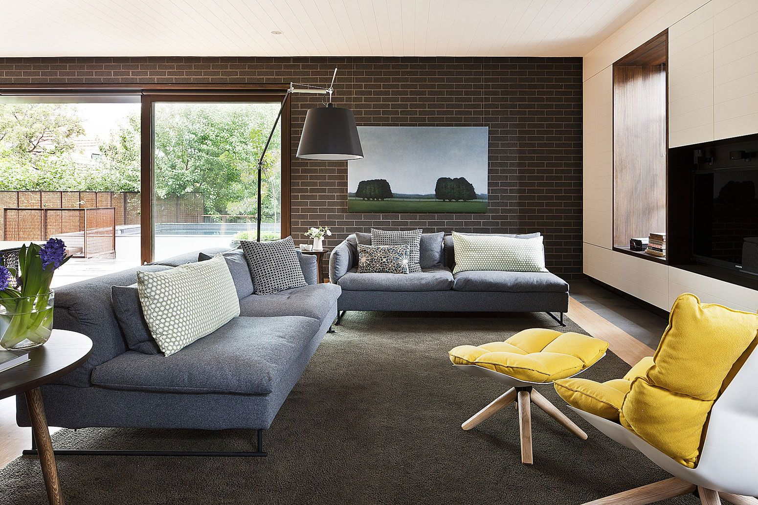 Fantastic Living Room Inspiration Set With White Wall Paint Color And Two  Grey Fabric Sofas In