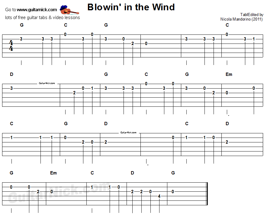 blowin 39 in the wind easy guitar tablature guitar in 2019 acoustic guitar lessons guitar. Black Bedroom Furniture Sets. Home Design Ideas