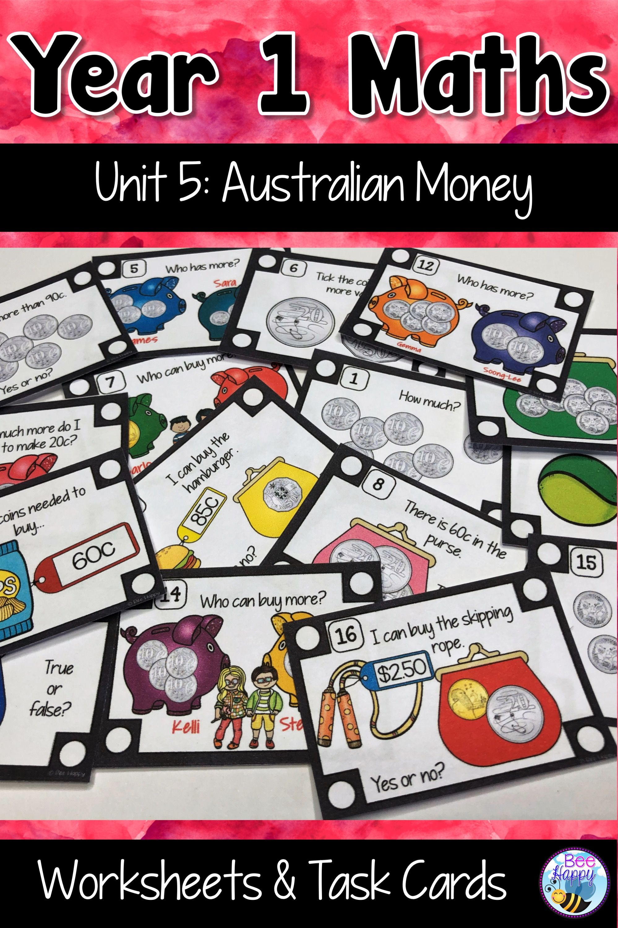 Australian Curriculum Money Worksheets And Task Cards Year