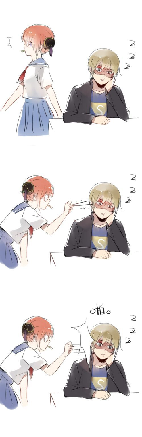 Photo of Tags: Anime, Gin Tama, Okita Sougo, Hair Buns, Kagura (Gin Tama), Hand On Cheek, 13knight