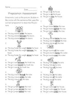 Preposition Test | Teaching | Prepositions, Lesson plans