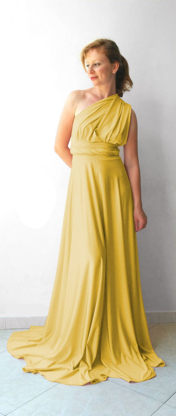 1116bec13cc8e Infinity Dress in color light mustard floor length with long straps ...