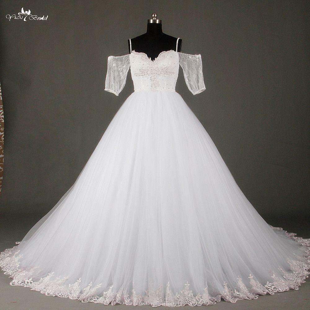 Click to buy ucuc white tulle skirt sweetheart wedding dress half
