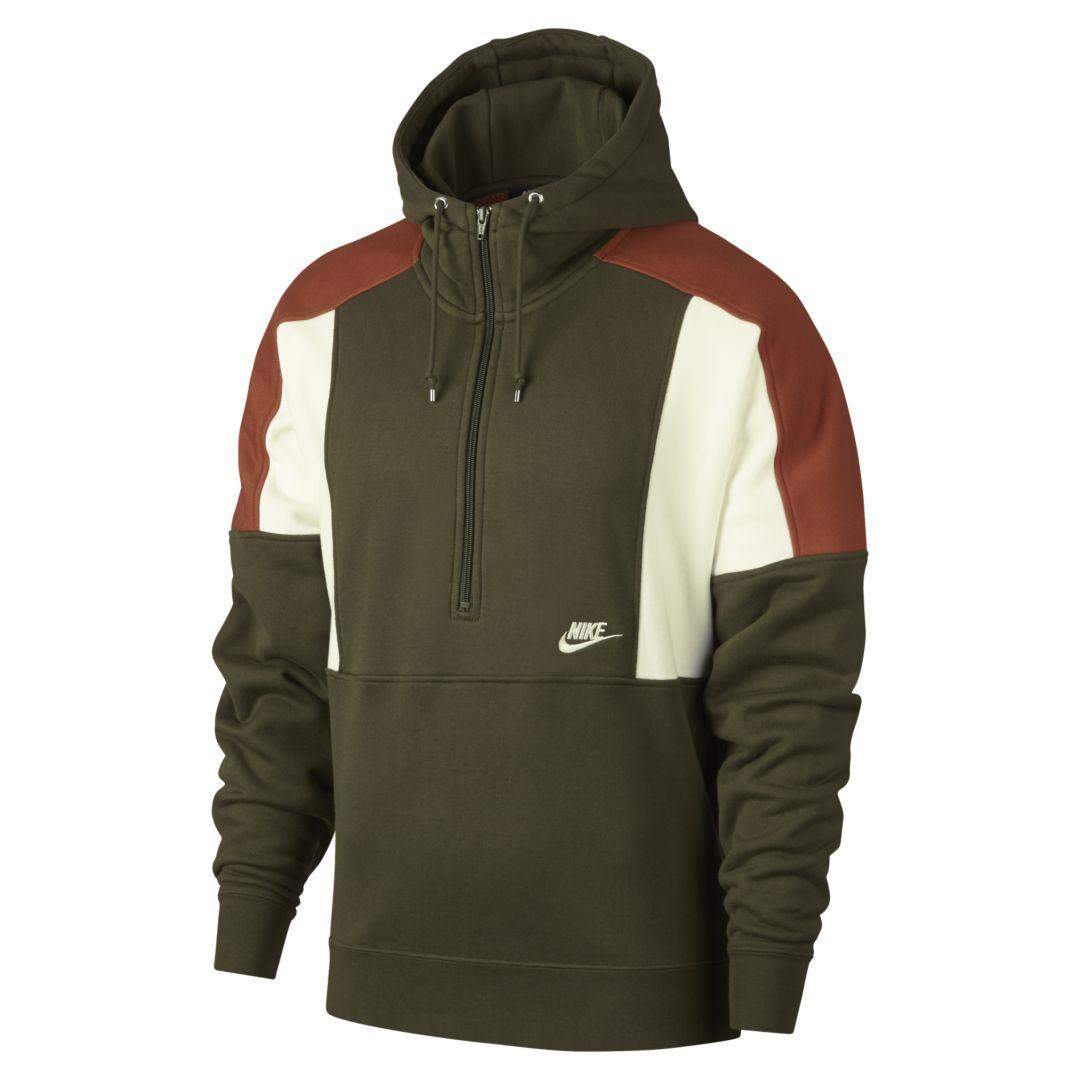 wholesale price professional sale really cheap Nike Sportswear Men's Fleece Half-Zip Hoodie Size XS (Olive ...