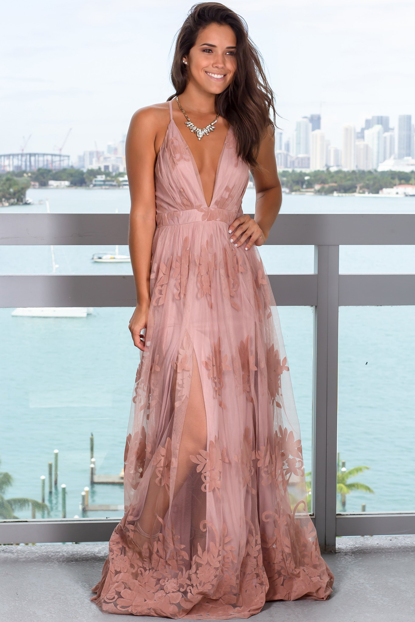 Blush Floral Tulle Maxi Dress With Criss Cross Back Maxi Dresses Saved By The Dress Blush Dress Long Blush Floral Dress Dresses