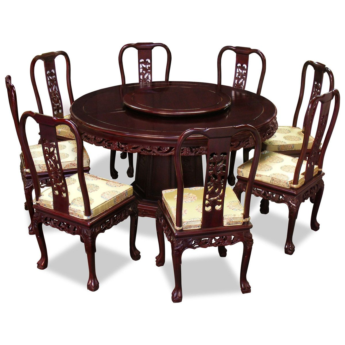 60in Rosewood Imperial Dragon Design Round Dining Table With 8 Chairs Design