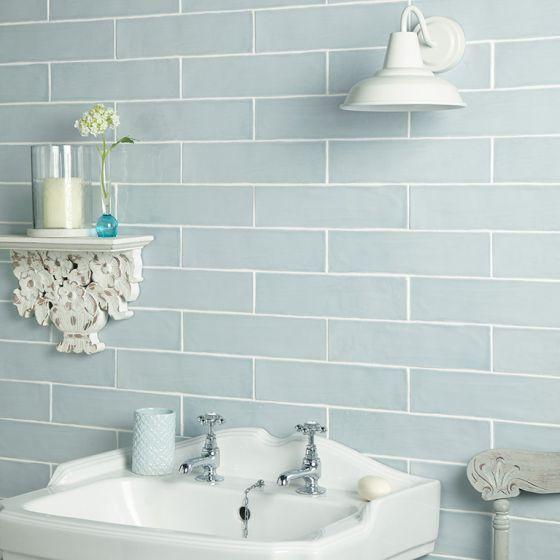Handmade Duck Egg Ceramic Wall 75x300mm Duck Egg Blue Wall Duck Egg Blue Bathroom Tiles Blue Tile Wall