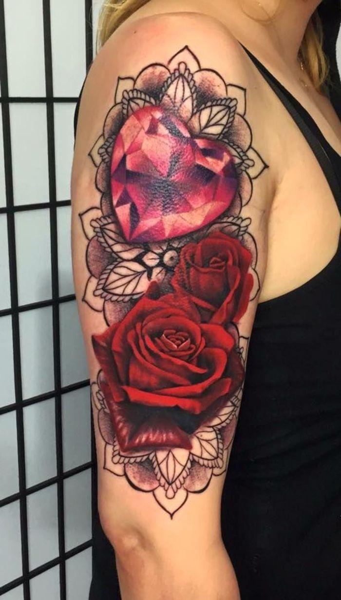 Faszinierend Tattoo Idee Frau Das Beste Von Eine Für Auf Schulter Zwei Große Rote