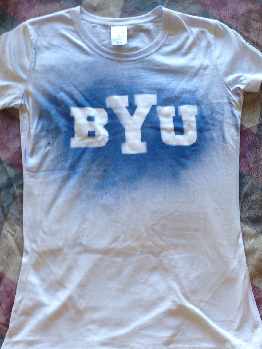 Shirt design with fabric paint - Diy Byu Shirts Fabric Spray Paint And Stencils