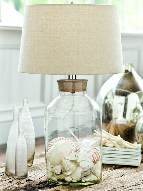 Gentil Clear Glass Table Lamp Filled With Shells: Http://beachblissliving.com/beach  Lamps And Pendant Lights/