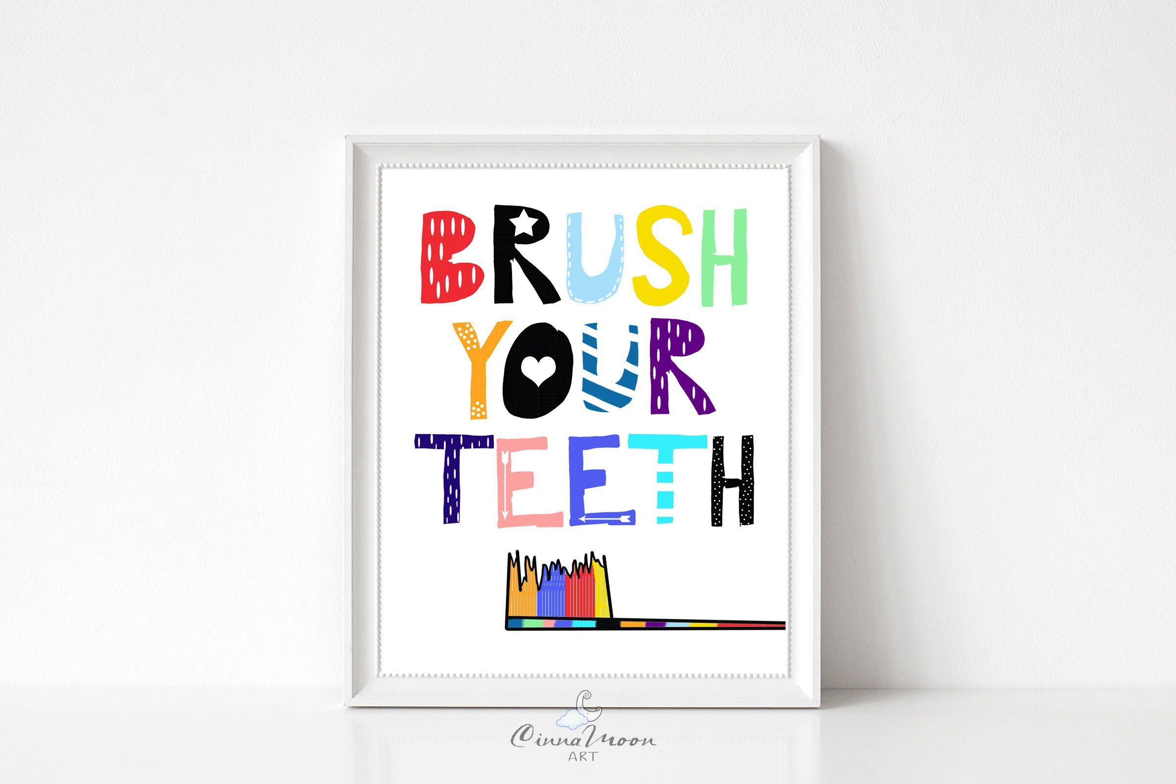 Brush Your Teeth Bathroom Prints Bathroom Art Kids Bath Kids Etsy Kids Bathroom Wall Bathroom Posters Funny Kids Bathroom Wall Decor