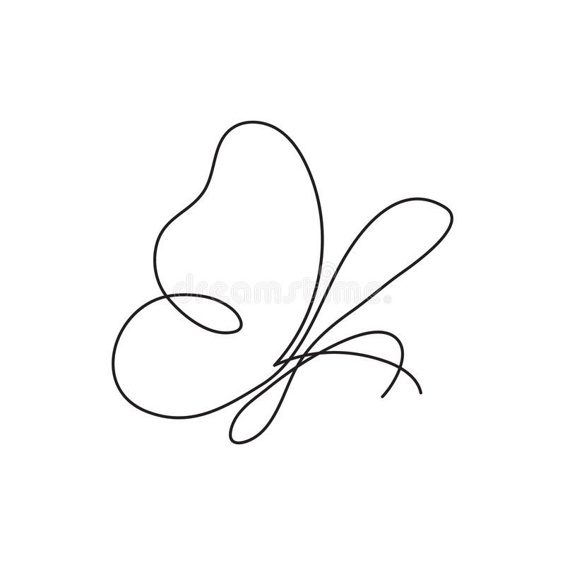 Modern Continuous Line Butterfly. One Line Drawing Of Insect Form For Logo, Card, Banner, Poster Flyer. Stock Vector - Illustration of drawing, design: 91672227
