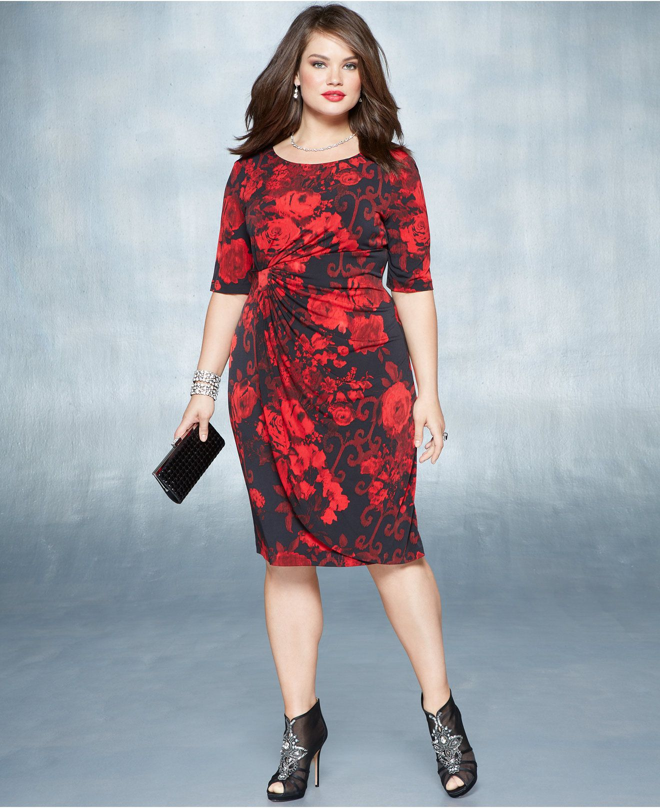 96a35544e92 Holiday 2014 Plus Size Red Hot Floral-Print Fitted Dress - Red Hot - Plus  Sizes - Macy s